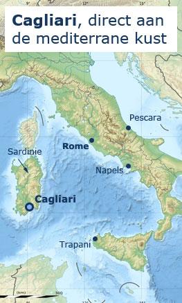 Kaart Cagliari, Sardinie en Italie